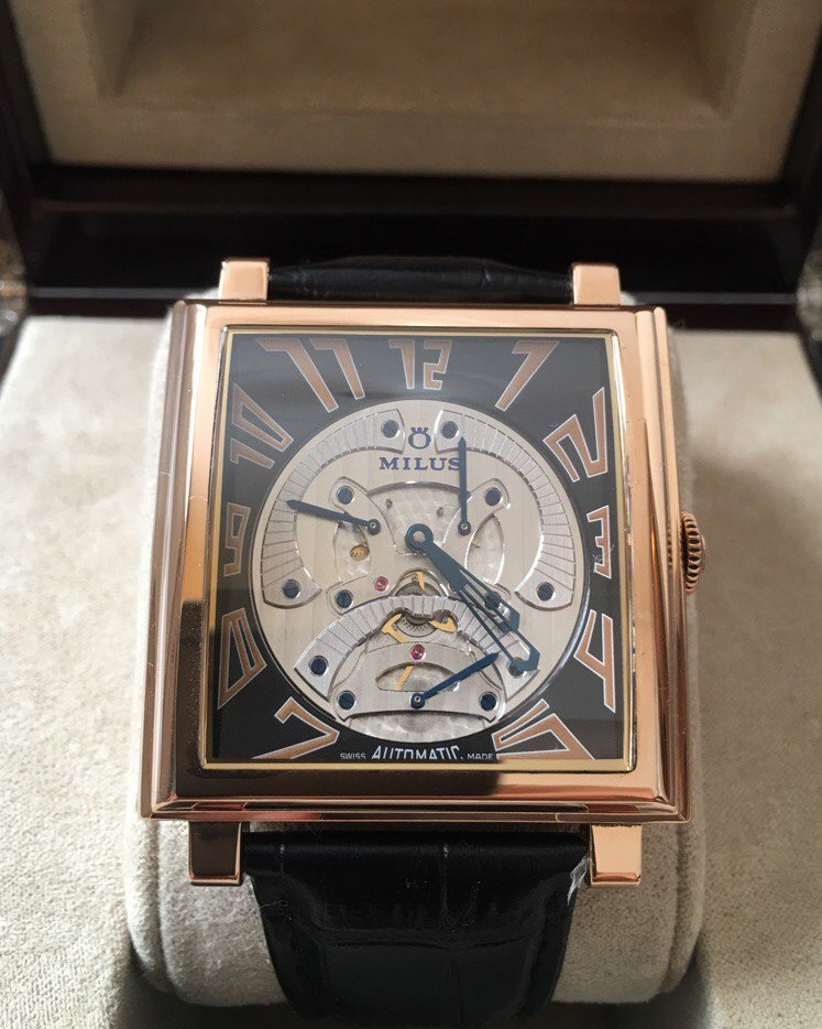 Milus Herios Tri-Retrograde Seconds Skeleton Rose Gold